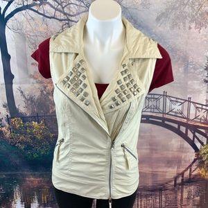 Jackets & Blazers - Monoreno Cream Zip Front Silver Embellished Vest